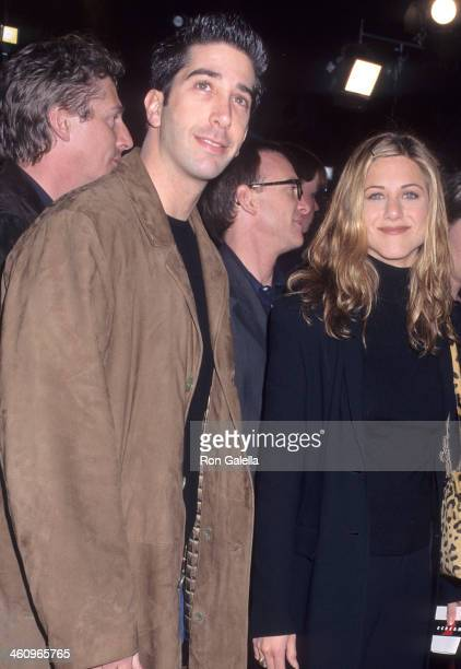 Actor David Schwimmer and actress Jennifer Aniston attend the 'Scream 2' Hollywood Premiere on December 10 1997 at the Mann's Chinese Theatre in...