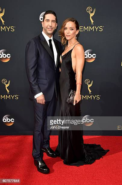 Actor David Schwimmer and Zoe Buckman arrive at the 68th Annual Primetime Emmy Awards at Microsoft Theater on September 18 2016 in Los Angeles...