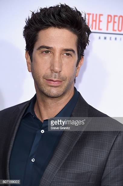 Actor David Schwimmer attends the premiere of 'FX's 'American Crime Story The People V OJ Simpson' at Westwood Village Theatre on January 27 2016 in...