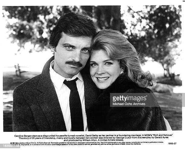 Actor David Selby and actress Candice Bergen on set of the MGM movie 'Rich and Famous' in 1981
