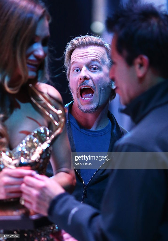 Actor David Spade photobombs model Hannah Davis winner of the Our New Girlfriend award at Spike TV's Guys Choice 2015 at Sony Pictures Studios on...