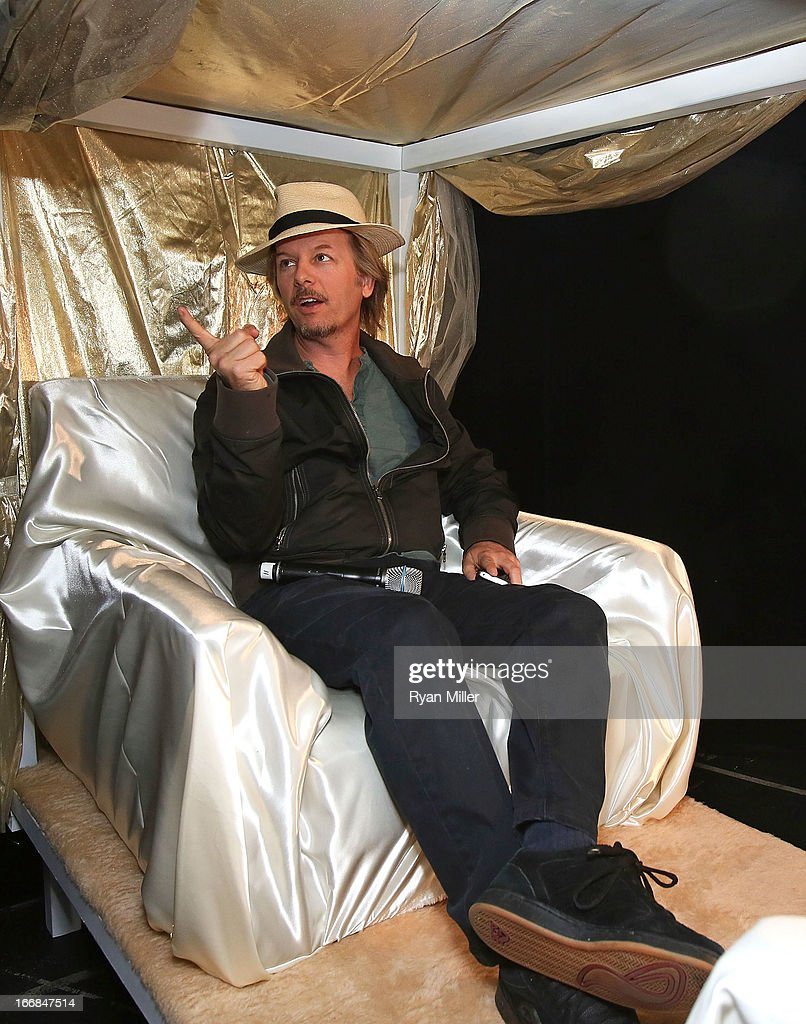 Actor <a gi-track='captionPersonalityLinkClicked' href=/galleries/search?phrase=David+Spade&family=editorial&specificpeople=209074 ng-click='$event.stopPropagation()'>David Spade</a> speaks backstage before the Sony Pictures Entertainment Invites You to an Exclusive Product Presentation Highlighting its 2013 Films at Caesars Palace during CinemaCon, the official convention of the National Association of Theatre Owners on April 17, 2013 in Las Vegas, Nevada.