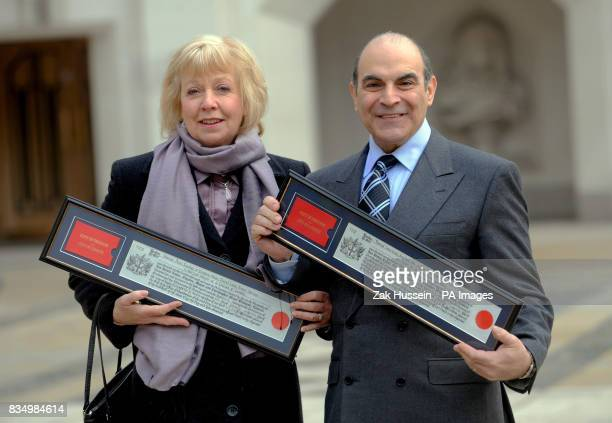Actor David Suchet receives the Freedom of the City of London with his wife Sheila at the Guildhall in east London