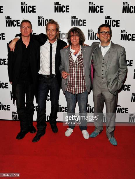 Actor David Thewlis actor Rhys Ifans author Howard Marks and director Bernard Rose attend the UK premiere of 'Mr Nice' at Cineworld Haymarket on...