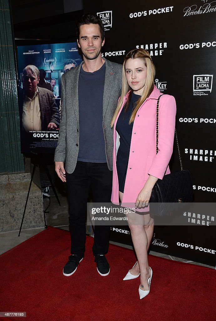 Actor David Walton (L) and actress Majandra Delfino arrive at the Film Independent at LACMA screening and Q&A of 'God's Pocket' at the Bing Theatre at LACMA on May 1, 2014 in Los Angeles, California.