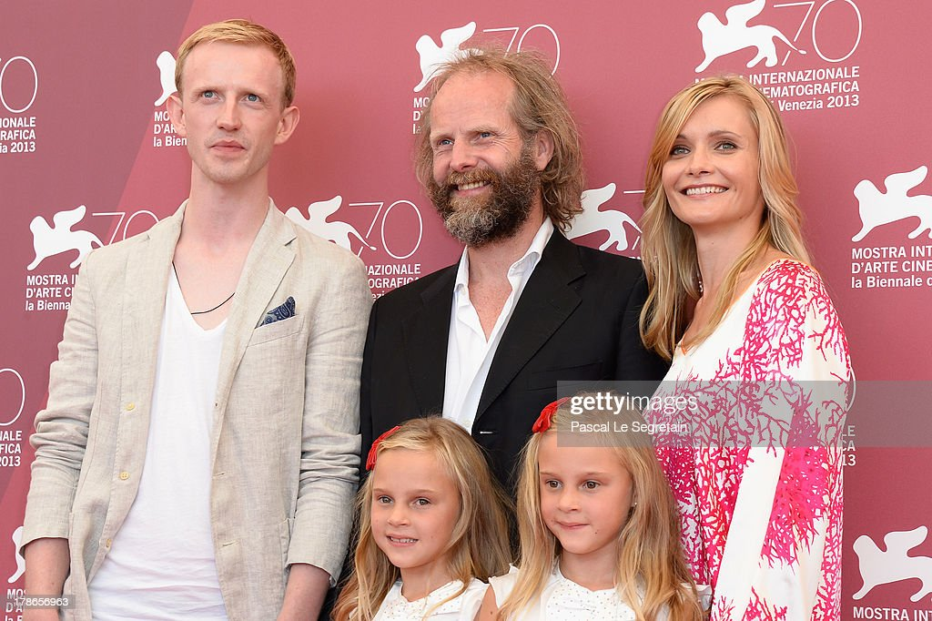 Actor David Zimmerschied, director Philip Groning and actresses Alexandra Finder and (front) Pia and Chiara Kleemann attend 'The Police Officer's Wife' Photocall during The 70th Venice International Film Festival at Palazzo Del Casino on August 30, 2013 in Venice, Italy.