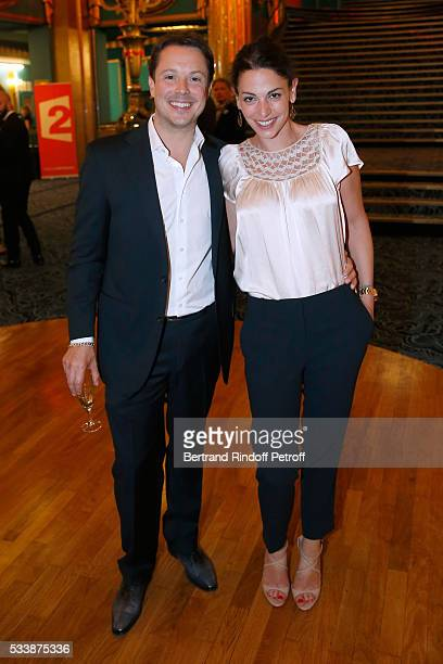 Actor Davy Sardou and his wife actress Noemie Elbaz attend 'La 28eme Nuit des Molieres' on May 23 2016 in Paris France