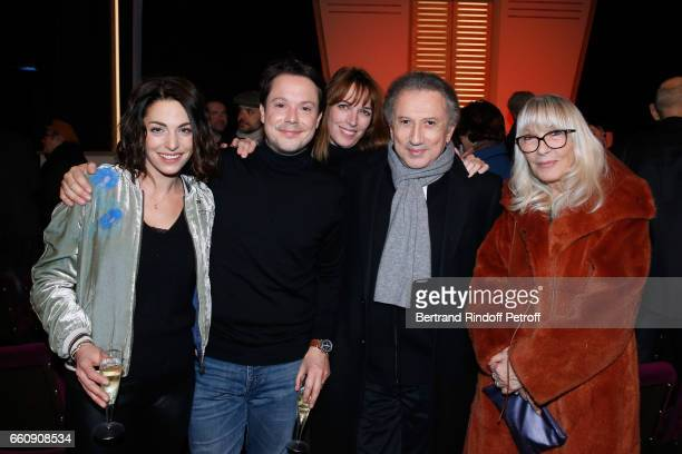 Actor Davy Sardou his wife actress Noemie Elbaz Creator of the decor of the piece Stefanie Jarre Michel Drucker and Dany Saval attend the 'Hotel des...