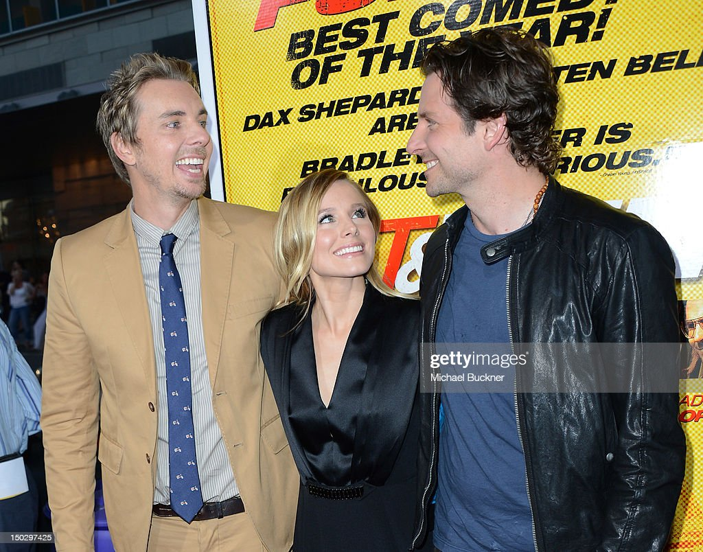 Actor <a gi-track='captionPersonalityLinkClicked' href=/galleries/search?phrase=Dax+Shepard&family=editorial&specificpeople=810830 ng-click='$event.stopPropagation()'>Dax Shepard</a>, actress <a gi-track='captionPersonalityLinkClicked' href=/galleries/search?phrase=Kristen+Bell&family=editorial&specificpeople=194764 ng-click='$event.stopPropagation()'>Kristen Bell</a> and actor <a gi-track='captionPersonalityLinkClicked' href=/galleries/search?phrase=Bradley+Cooper&family=editorial&specificpeople=680224 ng-click='$event.stopPropagation()'>Bradley Cooper</a> arrive at the premiere of Open Road Films' 'Hit & Run' at the Regal Cinemas L.A. Live on August 14, 2012 in Los Angeles, California.