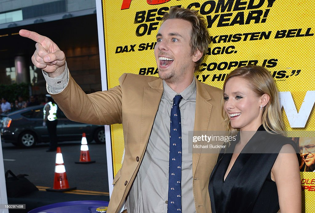 Actor <a gi-track='captionPersonalityLinkClicked' href=/galleries/search?phrase=Dax+Shepard&family=editorial&specificpeople=810830 ng-click='$event.stopPropagation()'>Dax Shepard</a> (L) and actress <a gi-track='captionPersonalityLinkClicked' href=/galleries/search?phrase=Kristen+Bell&family=editorial&specificpeople=194764 ng-click='$event.stopPropagation()'>Kristen Bell</a> arrive at the premiere of Open Road Films' 'Hit & Run' at the Regal Cinemas L.A. Live on August 14, 2012 in Los Angeles, California.