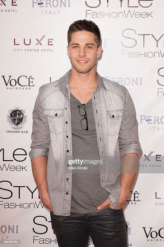 Actor Dean Geyer arrives the Madisonpark Collective runway show as part of the 2013 Los Angeles Fashion Week at Vibiana on March 14 2013 in Los...