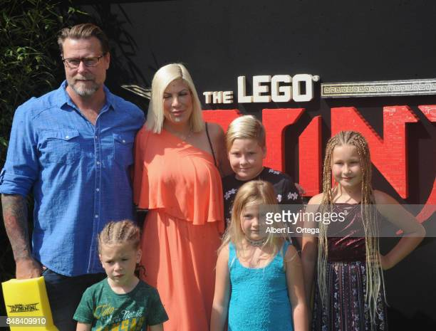 Actor Dean McDermott and actress Tori Spelling with their children arrive for the Premiere Of Warner Bros Pictures' 'The LEGO Ninjago Movie' held at...
