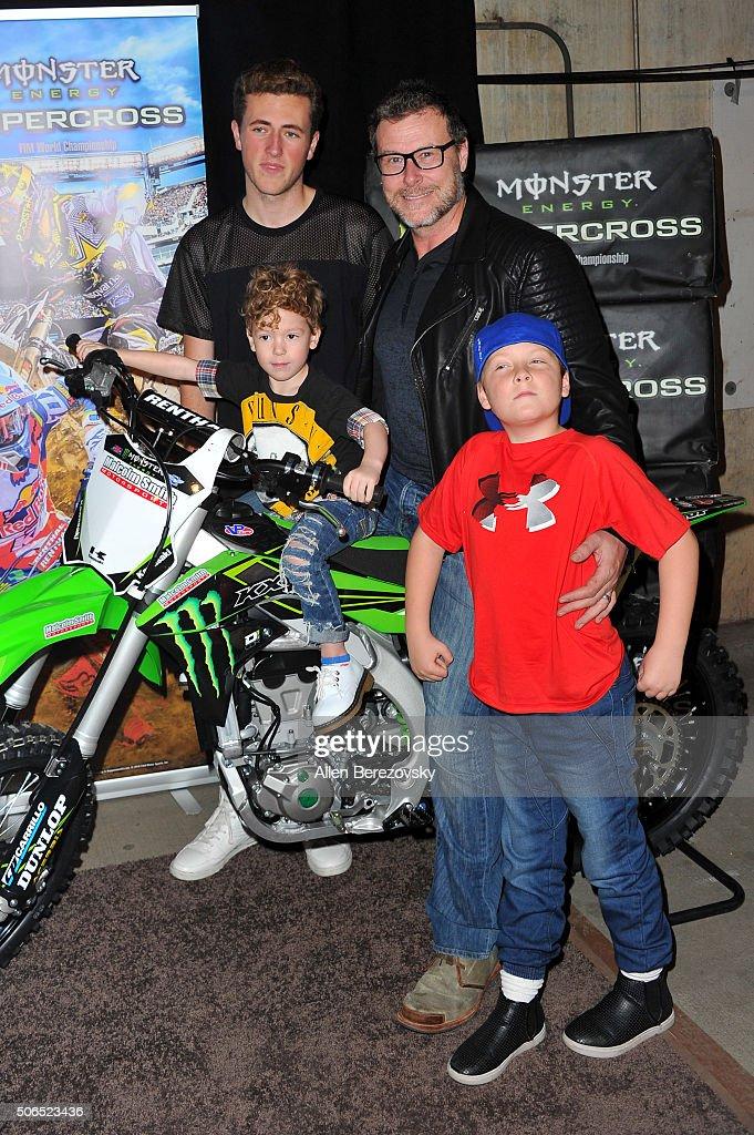 Actor Dean McDermott and sons Jack McDermott Liam McDermott and Fin McDermott attend Monster Energy Supercross at Angel Stadium of Anaheim on January...