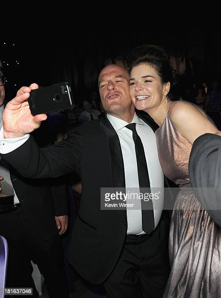 Actor Dean Norris and actress Betsy Brandt attend the Governors Ball during the 65th Annual Primetime Emmy Awards held at Nokia Theatre LA Live on...