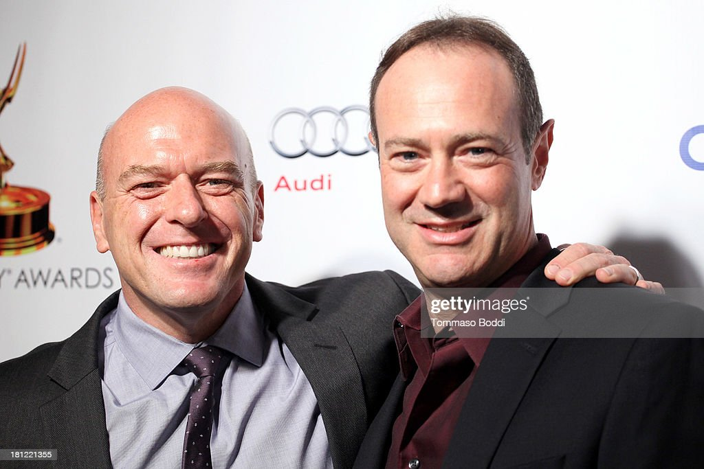 Actor <a gi-track='captionPersonalityLinkClicked' href=/galleries/search?phrase=Dean+Norris&family=editorial&specificpeople=4195761 ng-click='$event.stopPropagation()'>Dean Norris</a> (L) and writer George Mastras attend the 65th Emmy Awards Writers Nominee reception held at the Leonard H. Goldenson Theatre on September 19, 2013 in North Hollywood, California.