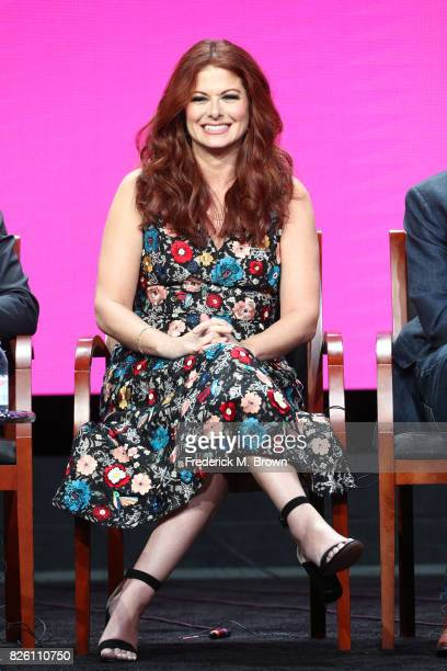 Actor Debra Messing of 'Will Grace' speaks onstage during the NBCUniversal portion of the 2017 Summer Television Critics Association Press Tour at...