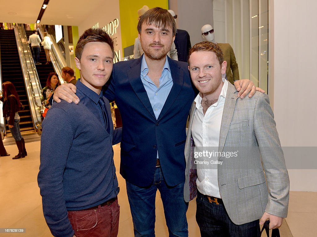 Actor Declan Michael Laird, Patrick Dickinson, and Johnny Paterson attend BAFTA Los Angeles and Sir Philip Green Celebrate the British New Wave at Topshop Topman at The Grove on April 30, 2013 in Los Angeles, California.