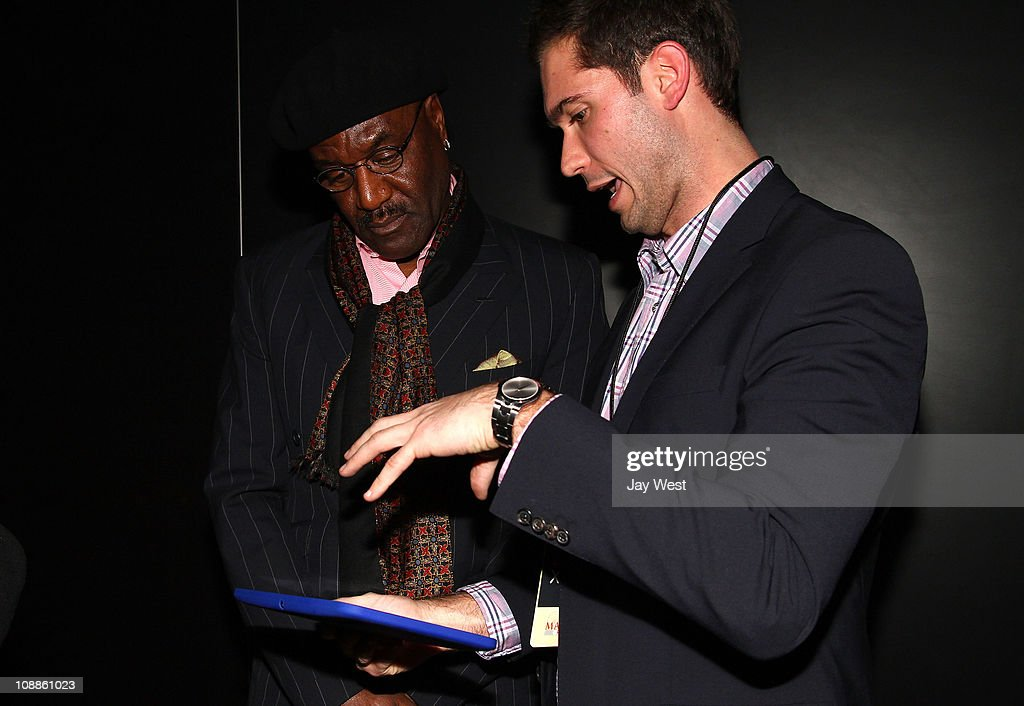 Actor Delroy Lindo poses with Motorola Xoom at the Maxim Party Powered by Motorola Xoom at Centennial Hall at Fair Park on February 5, 2011 in Dallas, Texas.