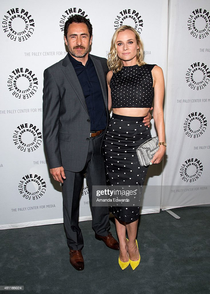Actor <a gi-track='captionPersonalityLinkClicked' href=/galleries/search?phrase=Demian+Bichir&family=editorial&specificpeople=604427 ng-click='$event.stopPropagation()'>Demian Bichir</a> (L) and actress <a gi-track='captionPersonalityLinkClicked' href=/galleries/search?phrase=Diane+Kruger&family=editorial&specificpeople=202640 ng-click='$event.stopPropagation()'>Diane Kruger</a> arrive at The Paley Center for Media's premiere screening of FX's 'The Bridge' at The Paley Center for Media on June 24, 2014 in Beverly Hills, California.