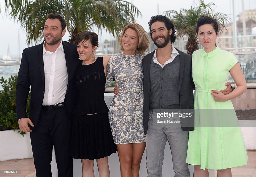 Actor Denis Menochet, actress Camille Lellouche, Lea Seydoux, actor <a gi-track='captionPersonalityLinkClicked' href=/galleries/search?phrase=Tahar+Rahim&family=editorial&specificpeople=5856944 ng-click='$event.stopPropagation()'>Tahar Rahim</a> and director Rebecca Zlotowski attends the 'Grand Central' Photocall during The 66th Annual Cannes Film Festival at Palais des Festivals on May 18, 2013 in Cannes, France.