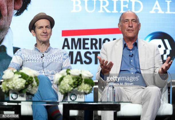 Actor Denis O'Hare writer/director Eric Stange of 'Edgar Allan Poe Buried Alive' speak onstage during the PBS portion of the 2017 Summer Television...