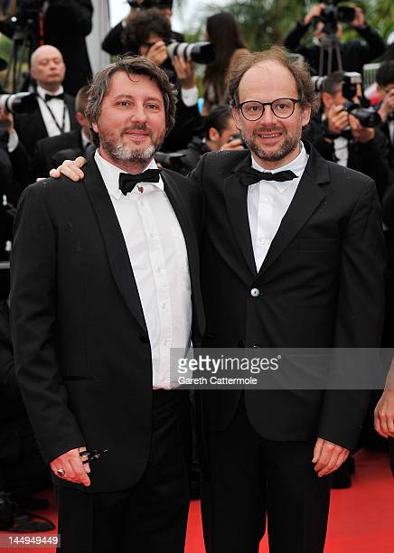 Actor Denis Podalydes and director Bruno Podalydes attend the 'Vous N'avez Encore Rien Vu' premiere during the 65th Annual Cannes Film Festival at...