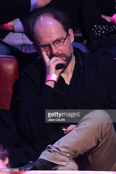 Actor Denis Podalydes attends the last big meeting of Paris socialist mayoral candidate Anne Hidalgo before the elections at Cirque d'Hiver on March...