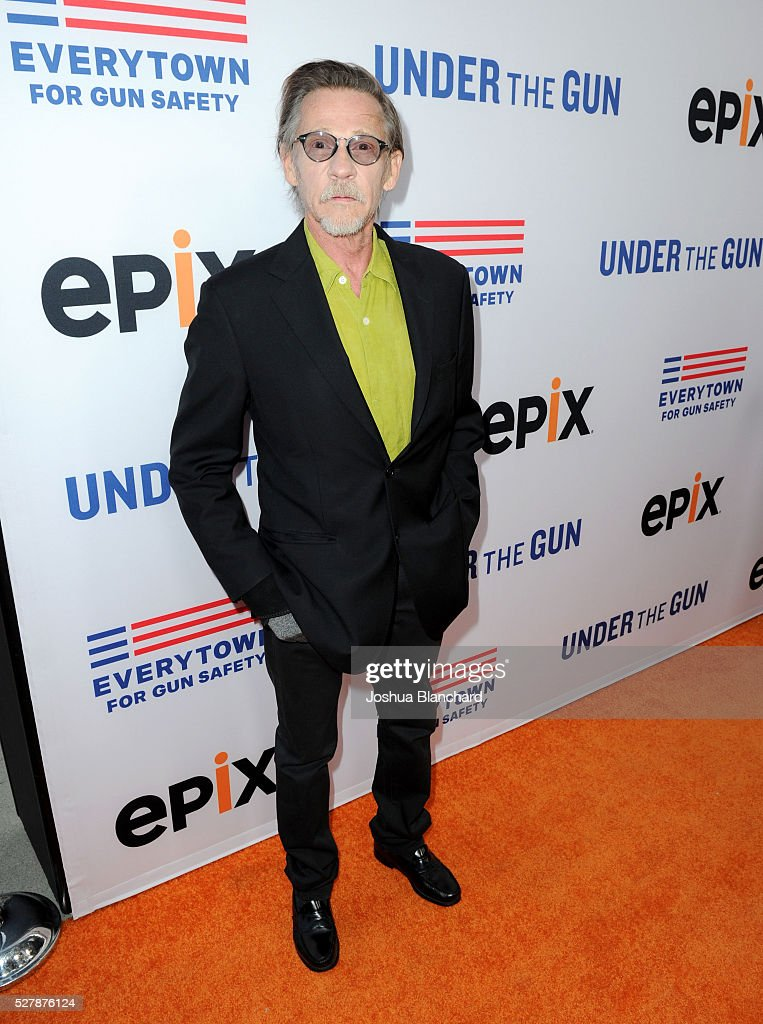 Actor Dennis Christopher attends the 'Under The Gun' LA premiere featuring Katie Couric and Stephanie Soechtig at Samuel Goldwyn Theater on May 3...