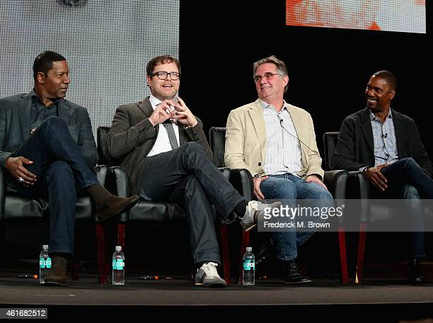 Actor Dennis Haysbert actor/Producer Rainn Wilson Creator/Executive Producer Hart Hanson and Executive Producer Kevin Hooks speak onstage during the...