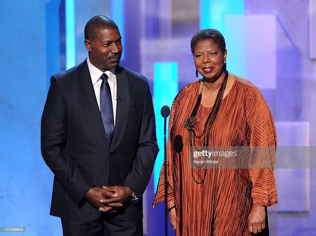 Actor <a gi-track='captionPersonalityLinkClicked' href=/galleries/search?phrase=Dennis+Haysbert&family=editorial&specificpeople=212993 ng-click='$event.stopPropagation()'>Dennis Haysbert</a> (L) and NAACP CEO/President Lorraine C. Miller speak onstage during the 45th NAACP Image Awards presented by TV One at Pasadena Civic Auditorium on February 22, 2014 in Pasadena, California.