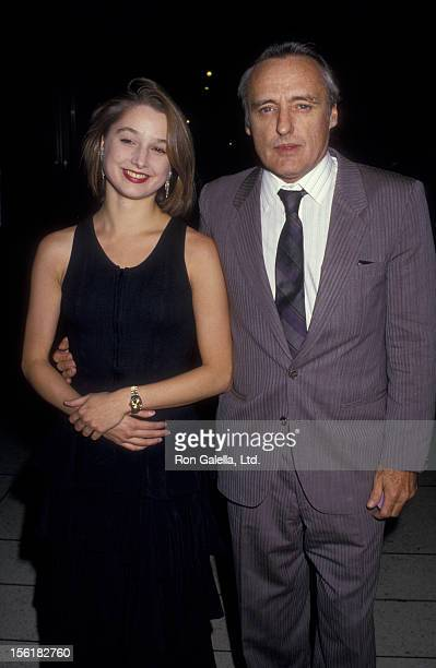 Actor Dennis Hopper and wife Katherine LaNasa attend the premiere of 'Dark Eyes' on September 23 1987 at the Lincoln Center in New York City