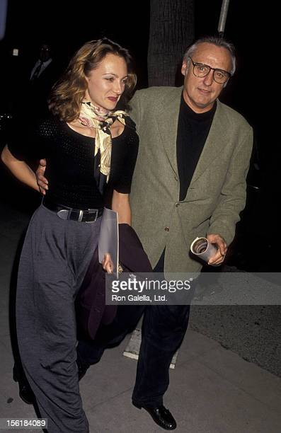 Actor Dennis Hopper and wife Victoria Duffy attend the premiere of 'Mrs Doubtfire' on November 22 1993 at the Academy Theater in Beverly Hills...