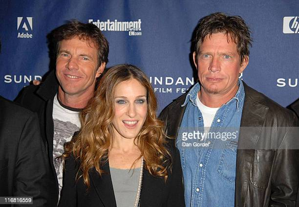 Actor Dennis Quaid actress Sarah Jessica Parker and actor Thomas Haden Church attend the premiere of 'Smart People' at the Eccles Theatre during the...