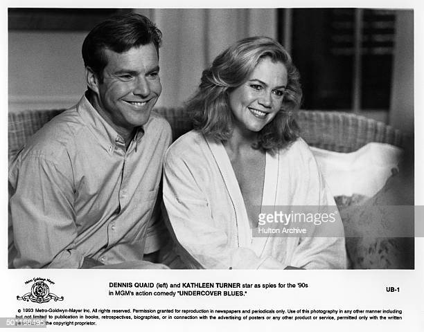 Actor Dennis Quaid and actress Kathleen Turner as Jeff and Jane Blue smile in a scene for the MGM movie 'Undercover Blues' circa 1993