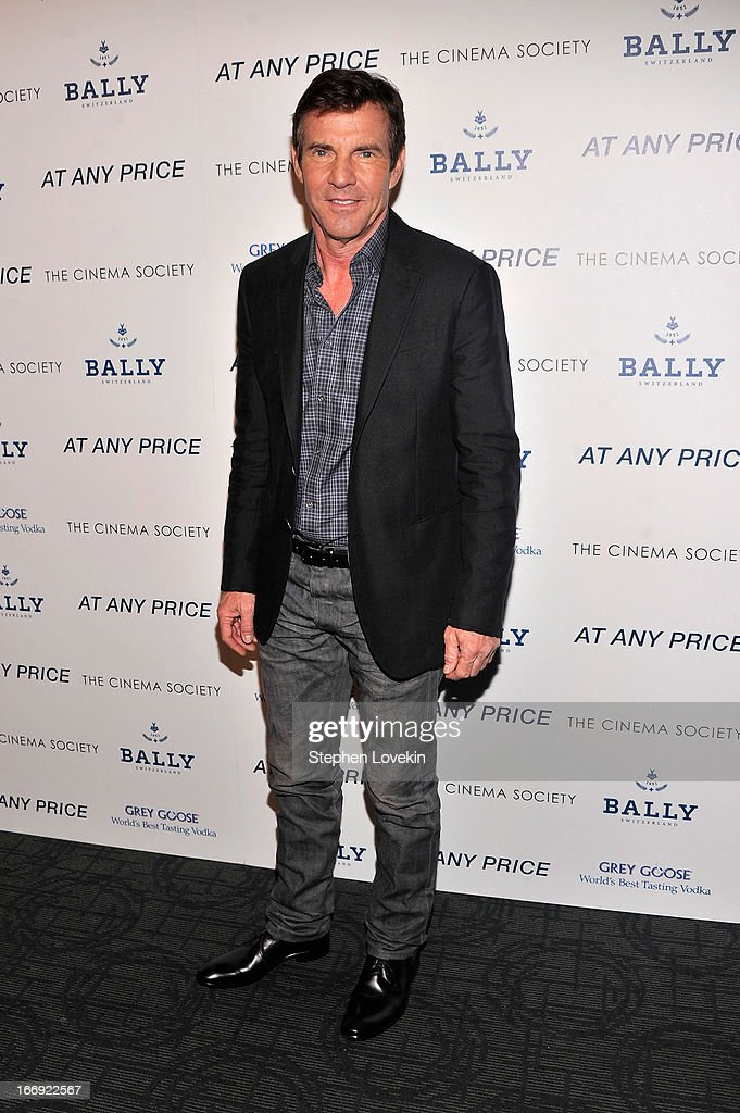 Actor <a gi-track='captionPersonalityLinkClicked' href=/galleries/search?phrase=Dennis+Quaid&family=editorial&specificpeople=201916 ng-click='$event.stopPropagation()'>Dennis Quaid</a> attends the Cinema Society & Bally screening of Sony Pictures Classics' 'At Any Price' at Landmark Sunshine Cinema on April 18, 2013 in New York City.