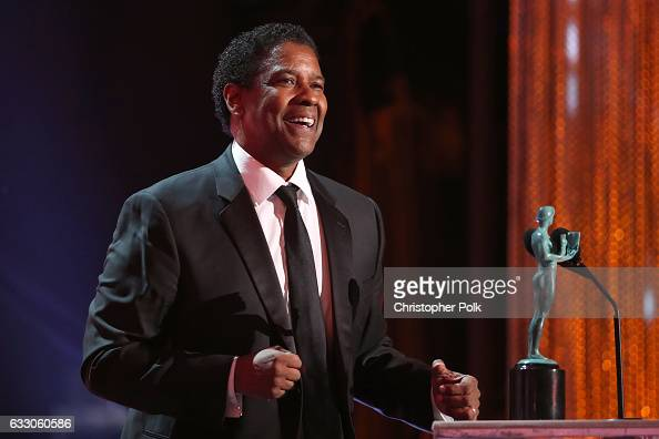 Actor Denzel Washington accepting the award for Male Actor in a Leading Role during The 23rd Annual Screen Actors Guild Awards at The Shrine...