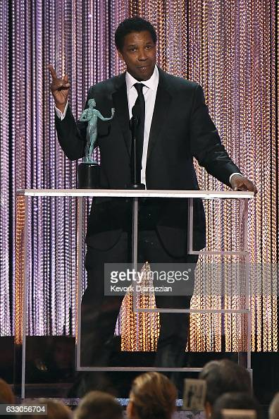 Actor Denzel Washington accepts the award for Best Make Actor in a Leading Role for 'Fences' onstage during the 23rd Annual Screen Actors Guild...
