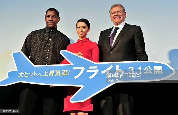 Actor Denzel Washington Actress Emi Takei and Director Robert Zemeckis attend the 'Flight' Japan Premiere at Marunouchi Piccadilly on February 21...