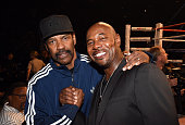 Actor Denzel Washington and director Antoine Fuqua pose ringside at 'Mayweather VS Pacquiao' presented by SHOWTIME PPV And HBO PPV at MGM Grand...