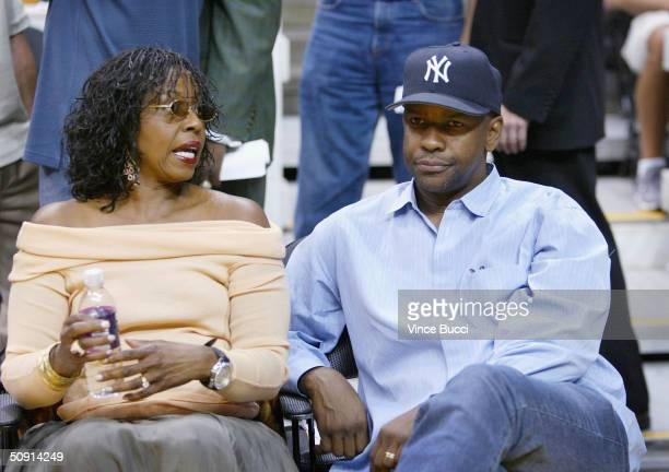 Actor Denzel Washington and wife Pauletta attend Game Six of the NBA Western Conference Finals between the Minnesota Timberwolves and the Los Angeles...