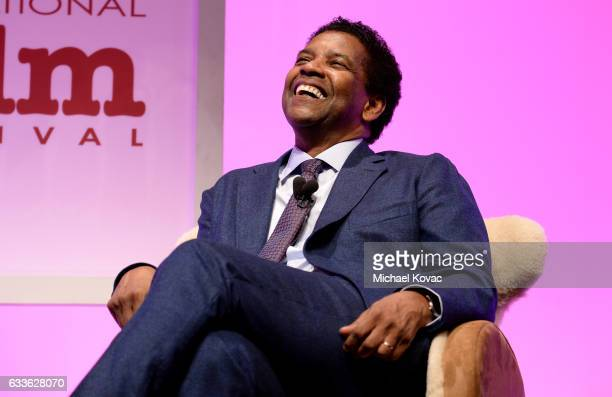 Actor Denzel Washington appears onstage before receiving the Maltin Modern Master Award at The Santa Barbara International Film Festival on February...