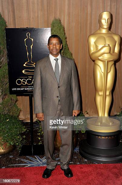 Actor Denzel Washington attends the 85th Academy Awards Nominations Luncheon at The Beverly Hilton Hotel on February 4 2013 in Beverly Hills...