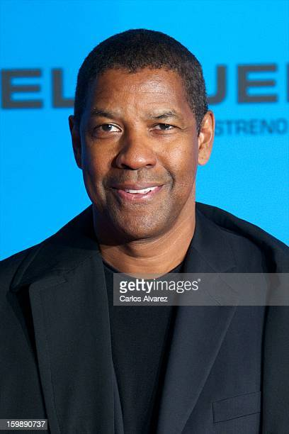 Actor Denzel Washington attends the 'Flight' premiere at the Capitol cinema on January 22 2013 in Madrid Spain