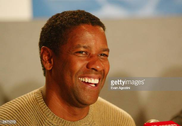 Actor Denzel Washington participates in the 'Out Of Time' press conference during the 2003 Toronto International Film Festival at the Delta Chelsea...