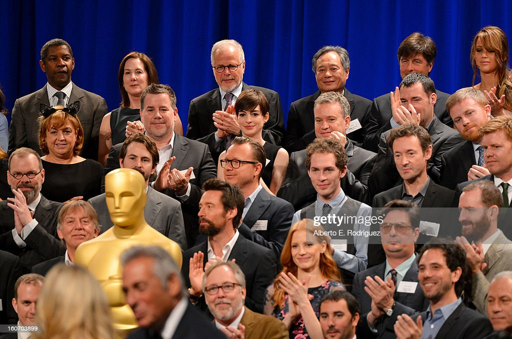 Actor Denzel Washington, Producer Kathleen Kennedy, Editor Jay Cassidy, Director Ang Lee, actress Anne Hathaway, special effects supervisor Neil Corbould, writer Mark Boal, Director Espen Sandberg, Filmmaker Timothy Reckart, actor Hugh Jackman, actress Jessica Chastain and Director Roman Coppola attend the 85th Academy Awards Nominations Luncheon at The Beverly Hilton Hotel on February 4, 2013 in Beverly Hills, California.