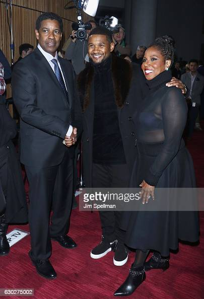 Actor Denzel Washington singer/songwriter Usher and Pauletta Washington attend the 'Fences' New York screening at Rose Theater Jazz at Lincoln Center...