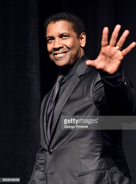 Actor Denzel Washington speaks onstage at 'The Magnificent Seven' premiere during the 2016 Toronto International Film Festival at Roy Thomson Hall on...