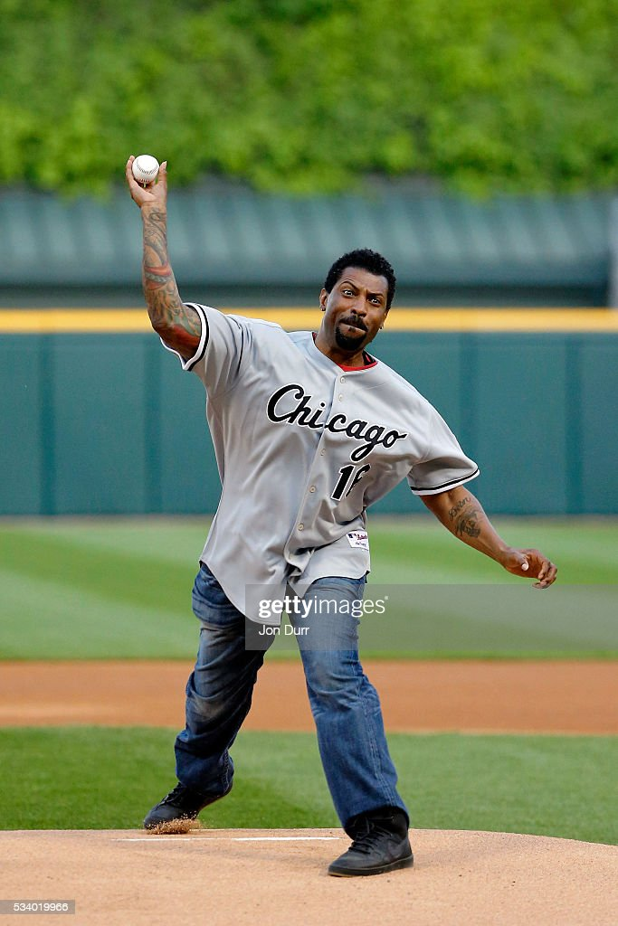 Actor <a gi-track='captionPersonalityLinkClicked' href=/galleries/search?phrase=Deon+Cole&family=editorial&specificpeople=5434737 ng-click='$event.stopPropagation()'>Deon Cole</a> throws out a first pitch before the game between the Chicago White Sox and the Cleveland Indians at U.S. Cellular Field on May 24, 2016 in Chicago, Illinois.