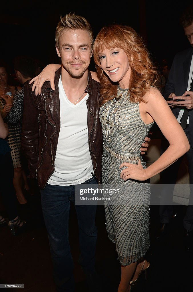 Actor Derek Hough (L) and TV personality Kathy Griffin attend CW Network's 2013 2013 Young Hollywood Awards presented by Crest 3D White and SodaStream held at The Broad Stage on August 1, 2013 in Santa Monica, California.