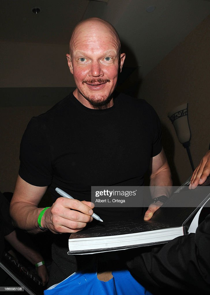 Actor <a gi-track='captionPersonalityLinkClicked' href=/galleries/search?phrase=Derek+Mears&family=editorial&specificpeople=5658397 ng-click='$event.stopPropagation()'>Derek Mears</a> attends 2013 Monsterpalooza held at The Burbank Marriott Hotel & Convention Center on April 13, 2013 in Burbank, California.
